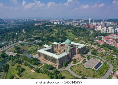 Aerial View Of Prime Minister's Department Complex Putrajaya with garden concept And Beautiful Cloud