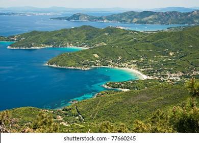 Aerial view of Procchio and Biodola, Elba island. Italy.