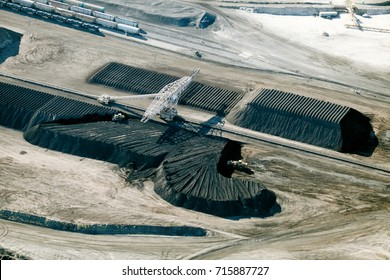 An aerial view of processing and handling area of a phosphate mine.