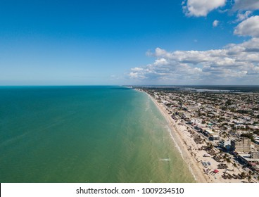 Aerial View Progreso beach in the north of Yucatan, Mexico. Progreso is a peaceful town in Mexico on Yucatan Peninsula, Gulf of Mexico. Aerial photo on a city in Mexico