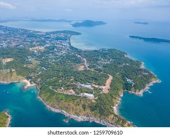 Aerial view of Promthep cape famous landmark of Phuket, Thailand