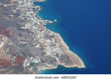 Aerial view of the Protaras, island of Cyprus.