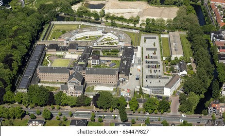 Aerial view of psychiatric hospital TBS Kliniek Mesdag in the Dutch city of Groningen. It is an ancient historic building in the city center and used to be a prison.