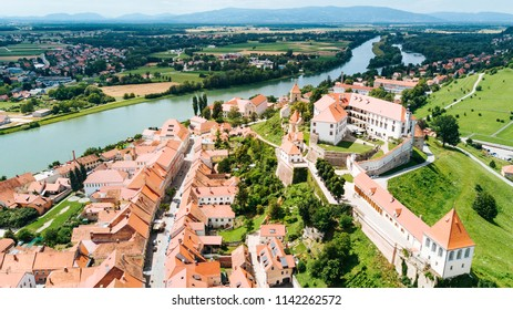 Aerial view of Ptuj Castle in Slovenia, Europe