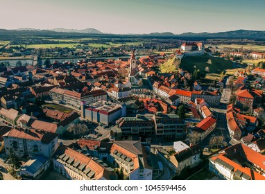 Aerial view of Ptuj the oldest town of Slovenia