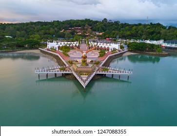 Aerial view of public Eagle statue, the symbol of Langkawi island, Malaysia