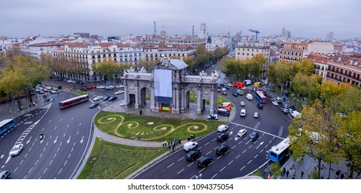 Aerial view of the Puerta de Alcala in Madrid