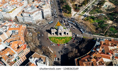 Aerial view of the Puerta de Alcalá, Neo-classical monument in the Plaza de la Independencia in Madrid, Spain.One of Madrid's most famous landmarks