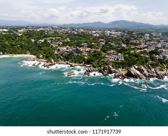 Aerial view to Puerto Angelito beach in Puerto Escondido
