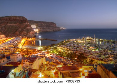 Aerial view of Puerto de Mogan at twilight time, on Gran Canaria Island, Spain