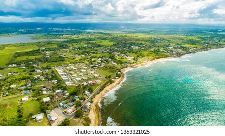 Aerial view of Puerto Rico. Tropical island.