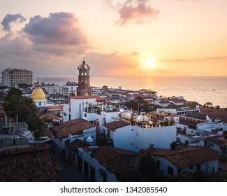 Aerial view of Puerto Vallarta at sunset - Puerto Vallarta, Jalisco, Mexico