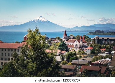 Aerial view of Puerto Varas with Sacred Heart Church and Osorno Volcano - Puerto Varas, Chile