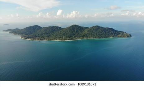 Aerial view of Pulau Besar (Besar Island) in Malaysia