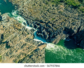 Aerial View of the Pulo do Lobo Waterfall Near Mertola, Portugal