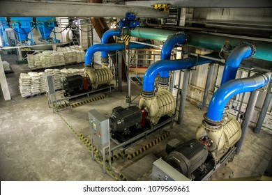 Aerial view to pumps of air pumping station of wastewater treatment plant.