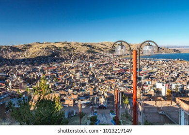 Aerial view of Puno City with Lake Titicaca from the Mirador El Condor.