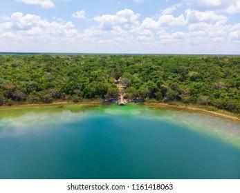 Aerial view of Punta Laguna, Quintana Roo, Mexico