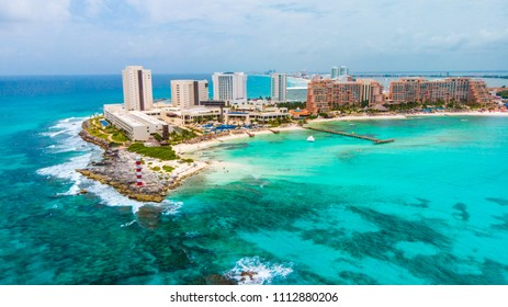 Aerial view of Punta Norte beach, Cancun, México.
