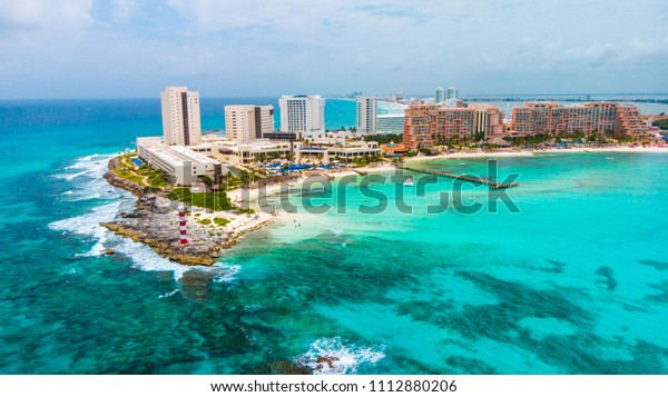 Aerial view of Punta Norte beach, Cancun, México.