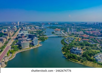 Aerial View Of Putrajaya Lake With Straight Main Road And Putrajaya Bridge View
