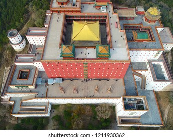 Aerial view of The Putuo Zongcheng Buddhist Temple, one of the Eight Outer Temples of Chengde, built between 1767 and 1771 and modeled after the Potala Palace of Tibet. Chengde Mountain Resort. China