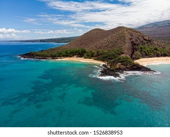 Aerial view at Puu Olai cinder cone, Little and Big beach of Makena state park