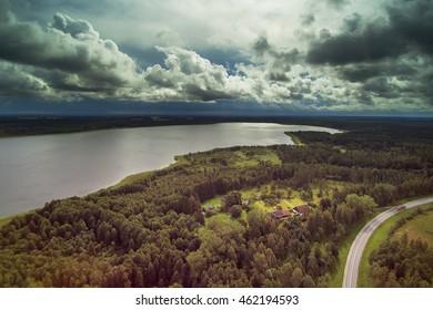 Aerial view of Puze lake, Latvia.