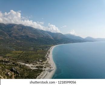 Aerial view of Qeparo beach in Albanian Riviera in autumn