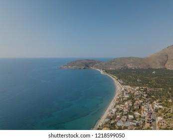 Aerial view of Qeparo beach in Himare, Albania (Albanian Riviera)