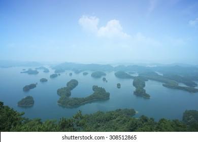 aerial view of Qiandao Hu lake,landmark of Zhejiang province,China