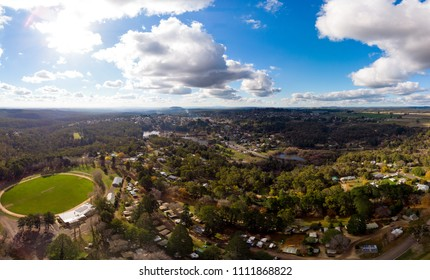 An aerial view of the quaint country town of Daylesford on a winter's day in Victoria, Australia