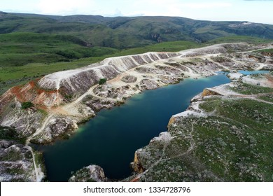 Aerial view of quarry in Capitolio with beatiful landscape, Minas Gerais, Brazil. Furnas's dam. Tourism point. Tropical travel. Travel destination.