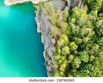 Aerial view of Quarry. Dive site. Famous location for fresh water divers and leisure attraction. Quarry now explored by scuba divers. Flooded quarry, adrenaline hobby