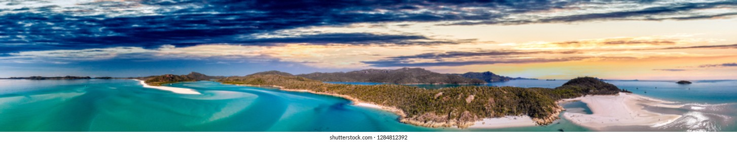 Aerial view of Queensland beaches, Australia. Whitsunday Islands Archipelago on a sunny day.