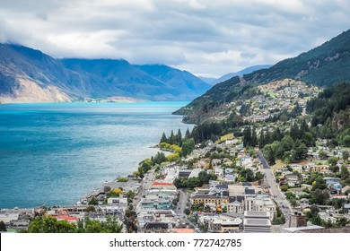 Aerial view of Queenstown from the Queenstown Hill - New Zealand