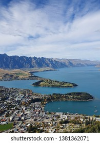 Aerial View of Queenstown and Lake Wakatipu, New Zealand