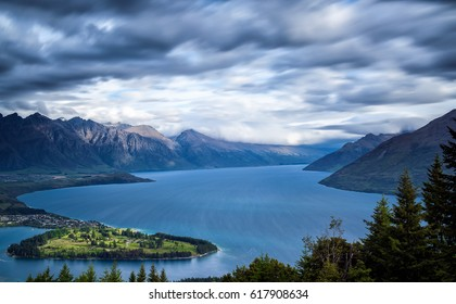 Aerial view of Queenstown in South Island, New Zealand. (motion blur)