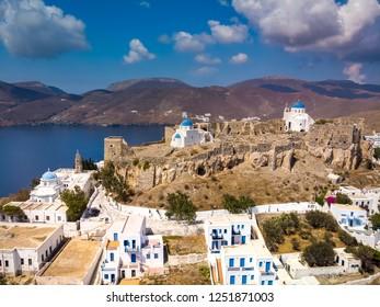 Aerial view from Querini castle and Panagia Portaitissa church in Astypalea island Greece
