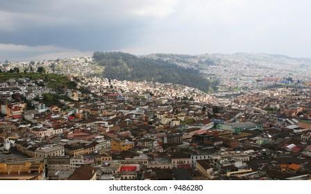 An aerial view of Quito Ecuadaor in 2007