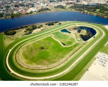 Aerial view of a racecourse used for horse racing and greyhounds in Belmont, Perth, Western Australia.