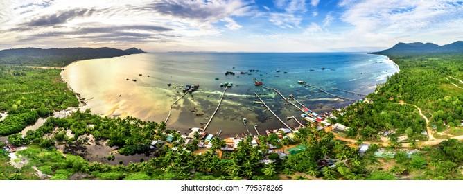 aerial view of Rach Vem beach in Phu Quoc, Kien Giang, Vietnam