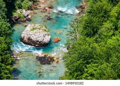 Aerial view of rafting on river Tara, Montenegro, Durmitor