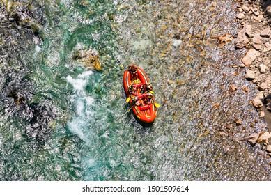 Aerial view of rafting on river Tara in National Park Durmitor, Montenegro, Europe