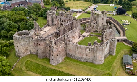 Aerial view of Raglan Castle in Monmouthshire, South Wales, UK