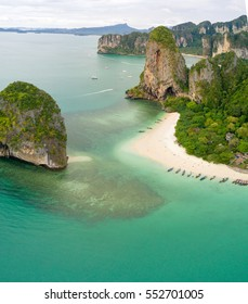 Aerial view of Railay beach and coastline in Krabi province, Thailand