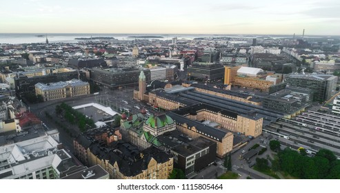 Aerial view of the Railway station, in the city of Helsinki, on a sunny summer morning dawn, in Helsingfors, Uusimaa, Finland