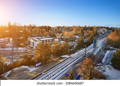 Aerial view of Railway station in Espoo, Finland