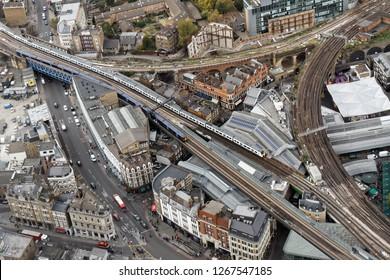 Aerial view of railways in Southwark district - London, UK