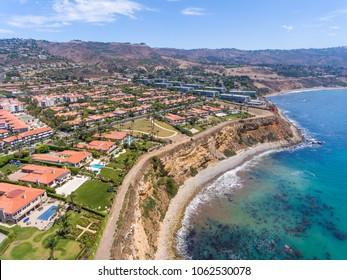 Aerial view of Rancho Palos Verdes coastline, California - USA.